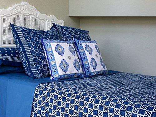 Starry Nights ~ Designer Blue Batik Contemporary King Bedspread 108x90