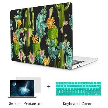 TwoL Carcasa MacBook 12 Pulgadas, Diseño de Cactus Funda Dura Carcasa con Cubierta de Teclado y Protector de Pantalla para MacBook 12 Pulgadas Modelo: ...