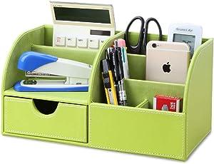 KINGFOM Office Desk Organizer - Multifunctional PU Leather Desktop Storage Box - Business Card/Pen/Pencil/Mobile Phone/Stationery Holder (Half PU-Green)