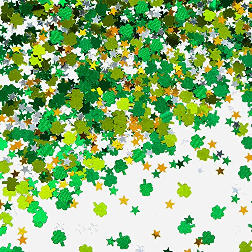 TecUnite 70 g St. Patrick's Day Green Shamrock and Green Gold Silver Star Confetti Patricks Day Table