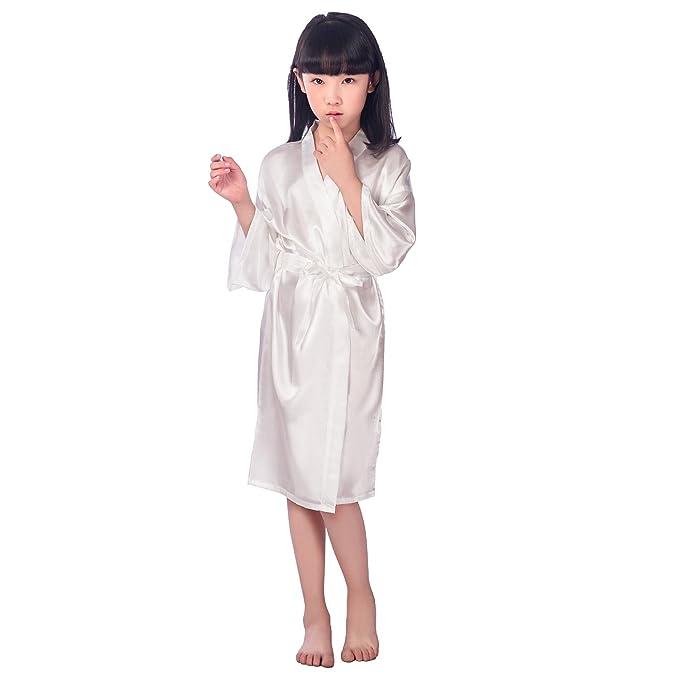 JZLPIN Niños Unisexo Chicas Satín Seda Kimono Robe Bata Ropa de Dormir Sleepwear Loungewear para SPA Vestido de Fiesta de Bodas: Amazon.es: Ropa y ...
