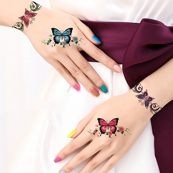 TAFLY mariposa pulseras mano & Muñeca y brazo tatuajes falsos ...