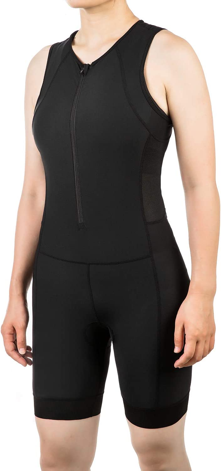 qualidyne Triathlon Suits Trisuit Women Duathlon Running Swimming Cycling Sleeveless Skinsuit with 2 Pockets and Padded Soft Chamois