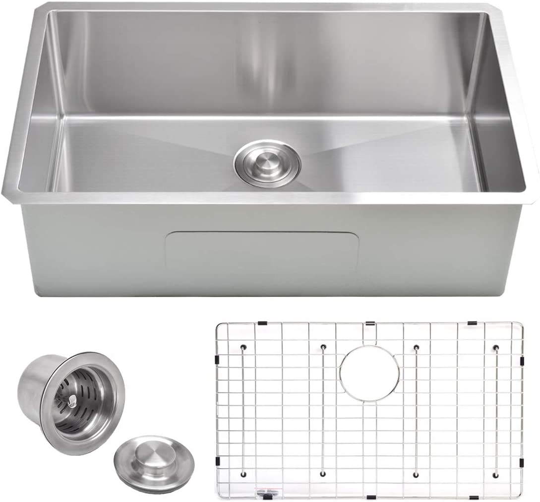 """VADANIA 32-inch Kitchen Sink, 32""""x19""""x10"""", Single Bowl, Undermount, 18 Gauge T304 Stainless Steel, Satin Finish, with Strainer & Bottom Grid, cUPC listed"""