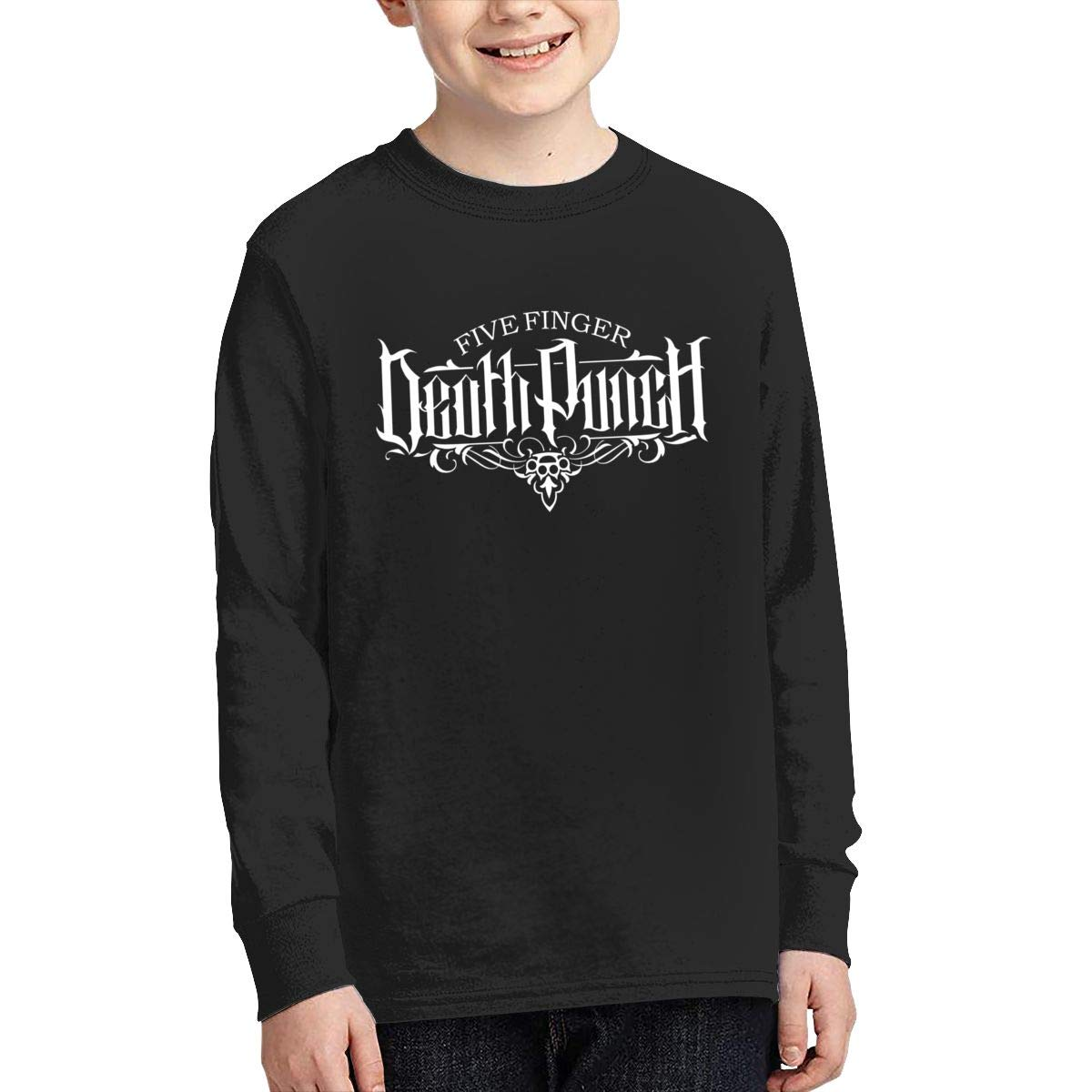 MichaelHazzard Five Finger Death Punch Logo Youth Soft Long Sleeve Crewneck Tee T-Shirt for Boys and Girls