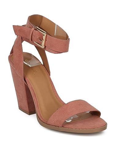 95e743b624 Alrisco Women Faux Suede Open Toe Ankle Wrap Block Heel Sandal HD32 - Blush Faux  Suede