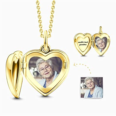 Personalized Photo Heart Locket Necklace Heart Pendant for Your Loved Ones 925 Sterling Silver Jewelry Custmozied Love Necklace
