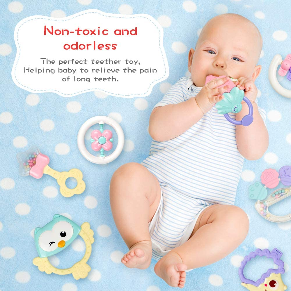 9 12 Month 6 Infant Grasping Grab ToysEarly Educational Toys with Storage Box for Toddler Newborn Baby 3 Woby 10pcs Baby Rattles Teether