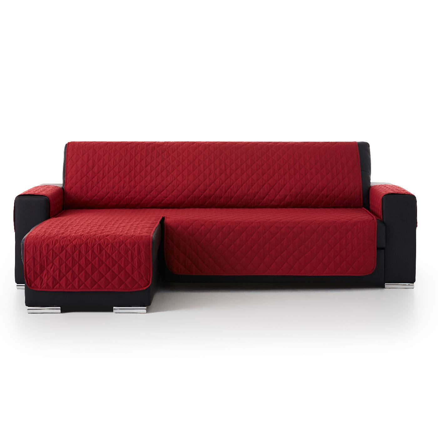 Jarrous Funda Cubre Chaise Longue Acolchada Modelo Pelícano, Color Rojo, Medida 240cm · Brazo Izquierdo (Mirándolo de Frente)