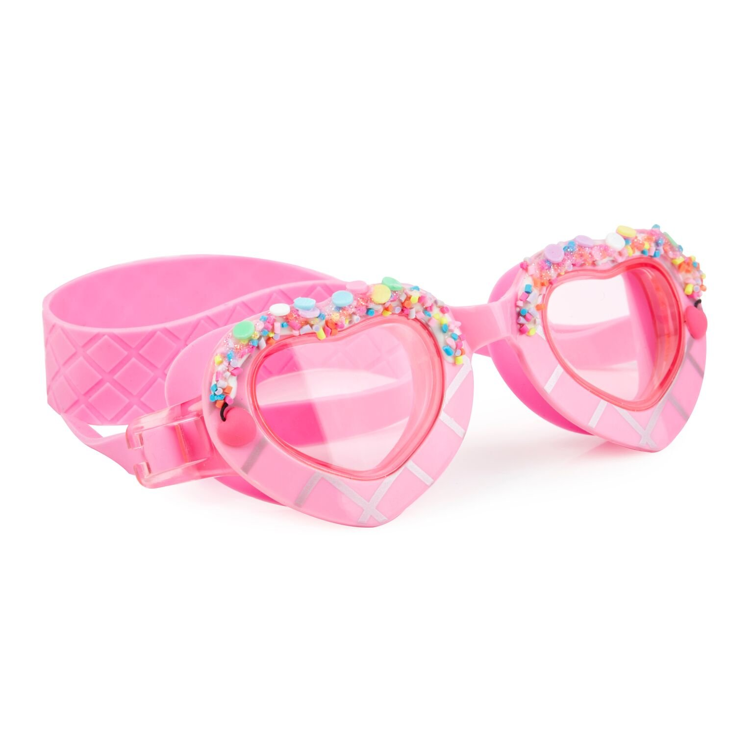 Heart Shaped Swimming Goggles For Kids by Bling2O - Anti Fog, No Leak, Non Slip and UV Protection - Float N Away Pink Fun Water Accessory Includes Hard Case