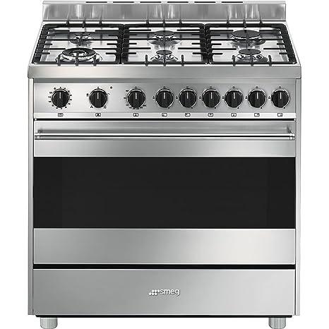 Smeg B9GVXI9 Libera installazione Gas A Acciaio inossidabile cucina ...