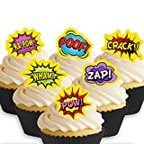 Cakeshop 12 x PRE-CUT Superhero Comic Words Edible Cake Toppers
