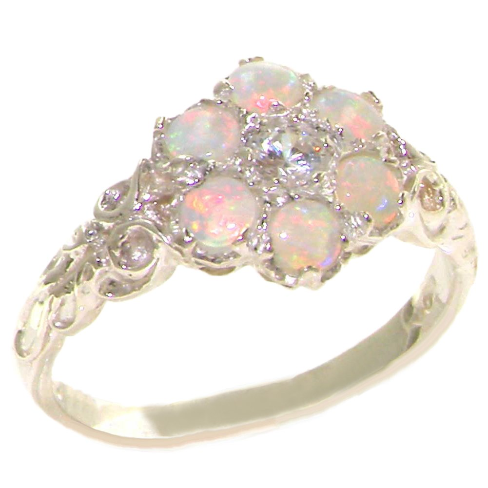 10k White Gold Natural Diamond & Opal Womens Vintage Daisy Ring - Sizes 4 to 12 Available