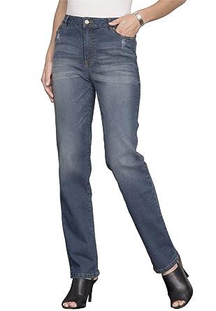 Amazon.com: Women's Plus Size Petite Colored Straight Leg Jeans ...