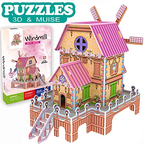 GBD 3D Jigsaw Puzzles Game for Kids Magic Windmill Music Box Dollhouse Castle Brain Teasers Model DIY Building Sets Educational Learning Holiday Toys for Toddler Girls Boys Christmas Birthday Gifts