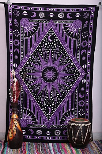 Popular Handicrafts Kp670 Zodiac Mandala Tapestry Celestial Wall Decor Burning Sun Tapestries Indian College Dorm Hanging Bohemian Hippy Hippie Gypsy tapestry140x210cms By Popular Handicrafts (Living Space Tablecloths Round)