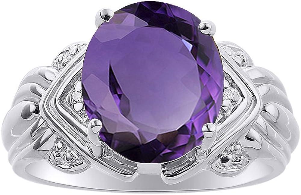 Juego de anillos de amatista y diamante en plata de ley – 12 x 10 mm piedra de color Anillo de nacimiento