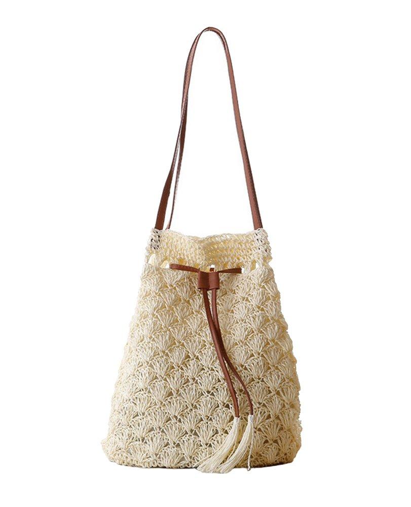 Tonwhar Womens Summer Fresh Paper Straw Bucket Bag Woven Beach Tote Bag (Cream)
