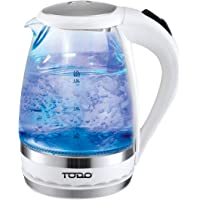Todo 1.5L Glass Cordless Kettle Electric Blue Led Light 360 Clear Jug White