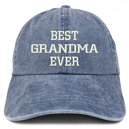 Grandmother Panel - Trendy Apparel Shop Best Grandma Ever Embroidered Pigment Dyed Low Profile Cotton Cap - Navy