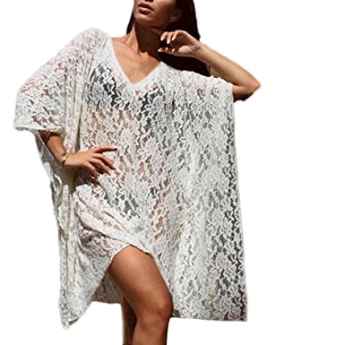 77d4a74f02 Convinced Swimsuit Cover Up Plus Size, Swimsuit Cover Up Plus Size Women  Lace Long Swimwear Cover Bathing Beach Sexy Swimsuit at Amazon Women's  Clothing ...