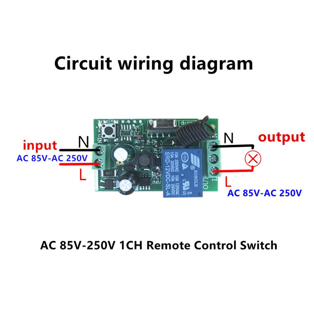 Circuit Diagram Of Remote Controlled Switch 433mhz Wireless Rf Control Module Ac 220v 1ch Learning Code Relay Home Improvement