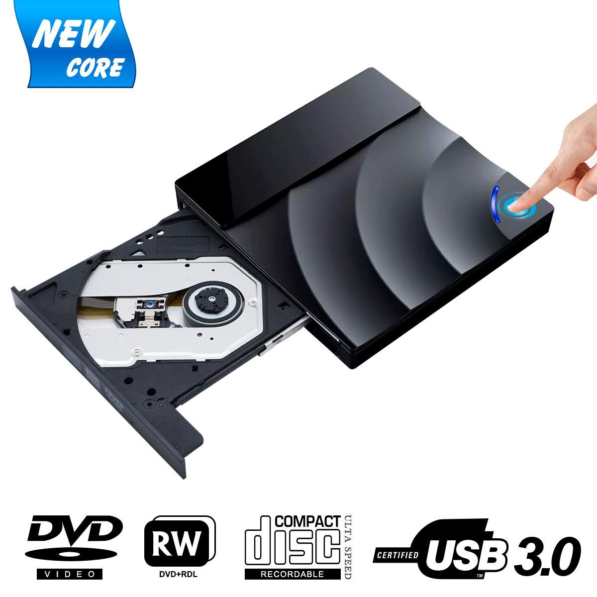 Snorain External CD/DVD Drive,USB 3.0 DVD +/-RW Superdrive CD Burner with High Speed Data Transfer Compatible for MacBook Laptop Desktop PC Windows10 /8/7 /XP Linux Mac OS (Black)