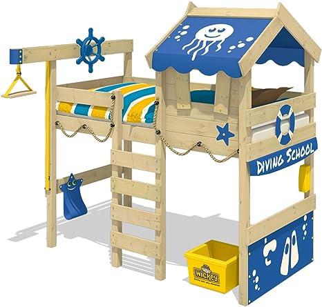 WICKEY Cama alta CrAzY Jelly Cama infantil con techo Cama para jugar 90x200 para niños con somier y sistema de grúa, azul: Amazon.es: Bricolaje y herramientas