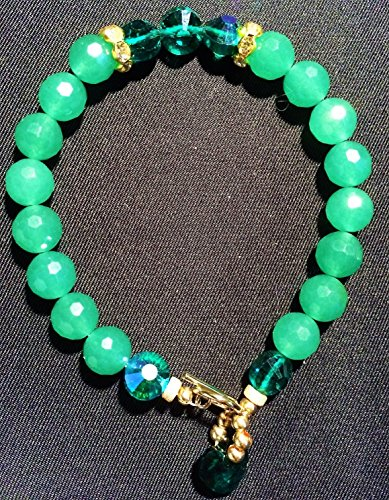 (Green Aventurine Faceted Ball Shape 8.0mm Gemstone with Swarovski Emerald AB 8mm GF 1/20 14k (Gold Filled 1/20 of 14 karat) Bead Bracelet)