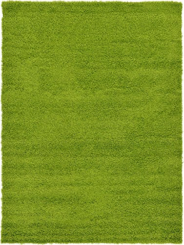 - Unique Loom Solo Solid Shag Collection Modern Plush Grass Green Area Rug (7' 0 x 10' 0)