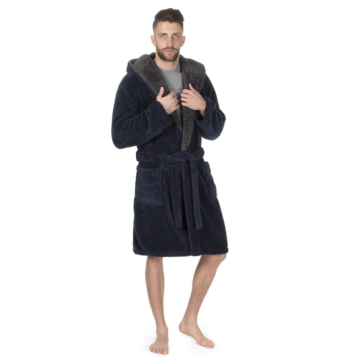 Pierre Roche Mens Plus Size Snuggle Fleece Hooded Contrast Dressing Gown. Navy Grey. Sizes 3XL 4XL 5XL 31B48
