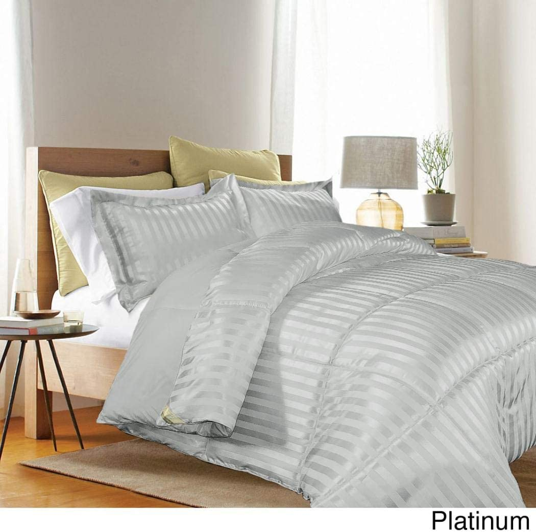 Chic Blue Grey Chambray Stripes Down Alt Reverse Comforter 3 pcs Cal King Queen