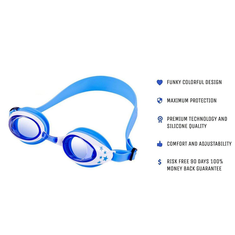 Bonnet de Bain pour Enfants, Lunettes de Natation avec 3 Nez Réglables et Protège-Oreilles Antibuée et antibrouillard pour Les Enfants (Bleu)