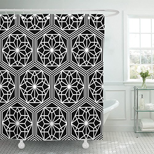 VaryHome Shower Curtain Tiled of Japanese Traditional Lattice Oriental Diamond Trellis Abstract Black and White Intersected Waterproof Polyester Fabric 72 x 78 Inches Set with - Ring Cut Diamond Trellis