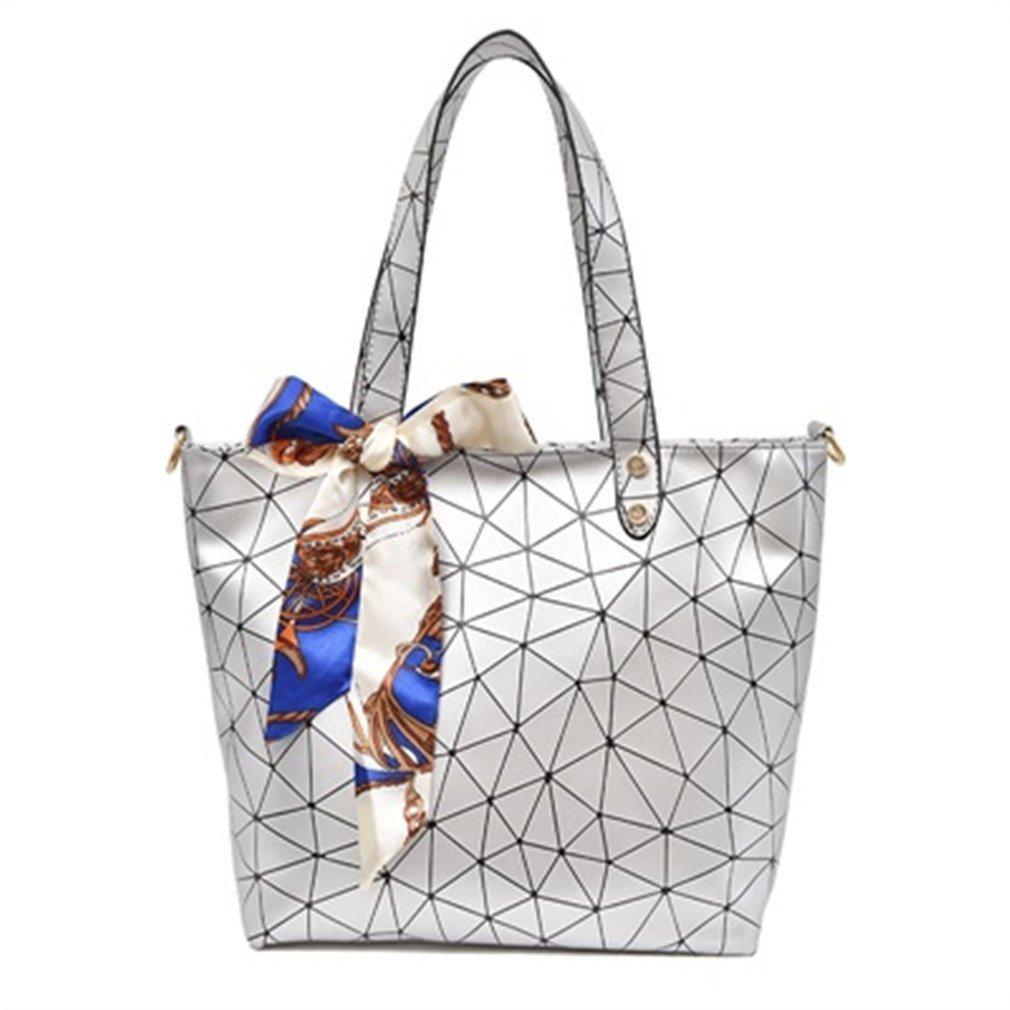 Women Tote Bag Geometry Sequins Mirror Saser Plain Folding Woman Shoulder Bags Silver 37x27x9cm