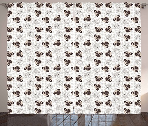 Ambesonne Dog Curtains, Pug Portraits Traces Paw Print Background Canine Pet Illustration Mammal Animal, Living Room Bedroom Window Drapes 2 Panel Set, 108 W X 63 L Inches, Beige Brown (Print Pug Dog)