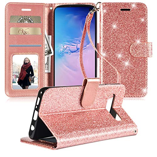 ForDesign Samsung Galaxy S10E Case,Galaxy S10 E Cell Phone Case Wallet,Galaxy S 10E Case,[Kickstand][Card Slots][Wrist Strap] Glitter Shockproof ProtectiveCase Cover Skin for Girls Women,Rosegold