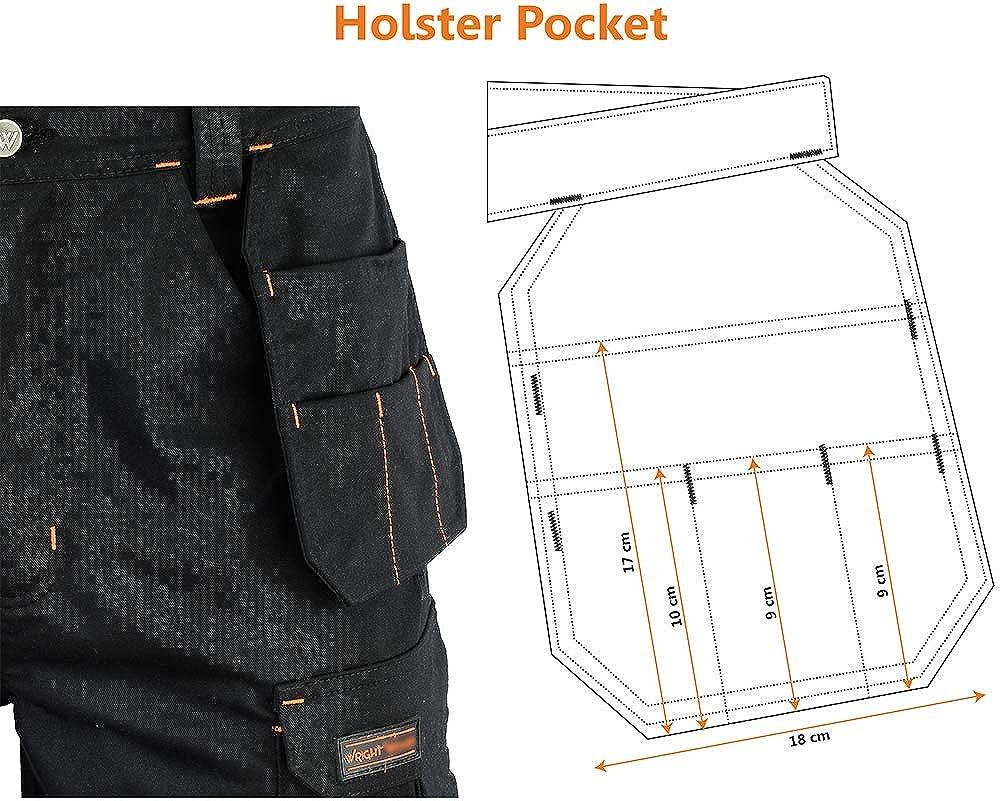 con tasche Pantaloncini da lavoro da uomo colore: Nero Cargo Redhawk Pro