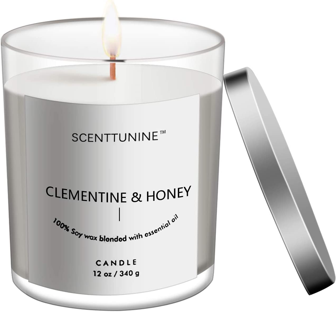 Scenttunine Scented Candle, Pure Natural Organic Soy Wax Candle Jar 50h Burn Time Aromatherapy Fall Candles for Home Scented Essential Gift Ideas - Clementine&Honey 12OZ
