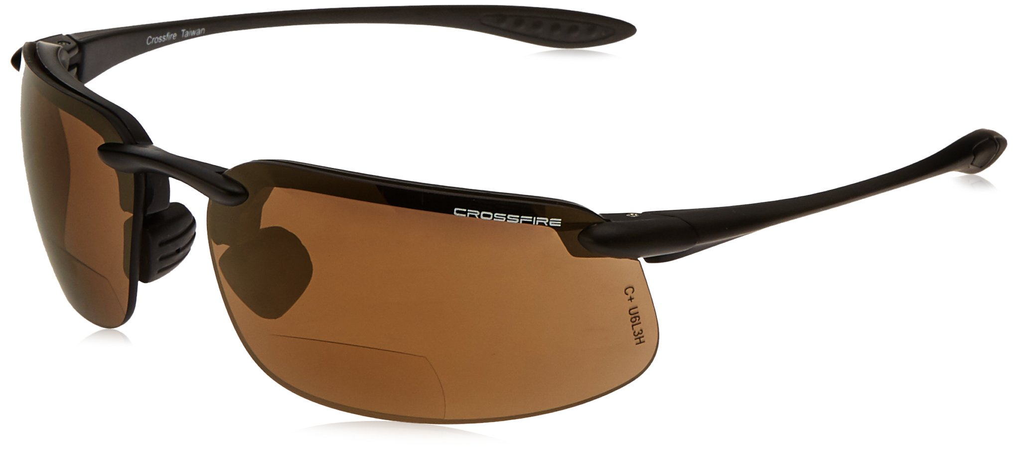 Crossfire Eyewear 216112 1.25 Diopter ES4 Safety Glasses with Black Frame and Bronze Lens