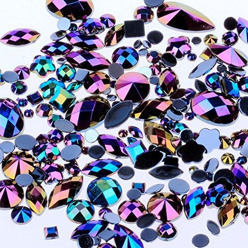 Mix Sizes 300pcs Crystal Black AB Nail Art Rhinestones DIY Non Hotfix Flatback Acrylic Nail Stones Gems for 3D Nails Art Decorations (Black AB)