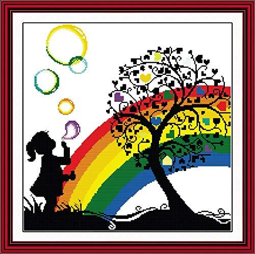 (Rainbow Bubble Girl Kid Cartoon Needlework,DMC Cross Stitch,Baby Embroidery Kits,Patterns Counted Cross-Stitching,DIY Handmade)