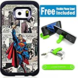 Galaxy S7 Hybrid Case Cover with Flexible Phone Stand - Comics Superman Cartoon V