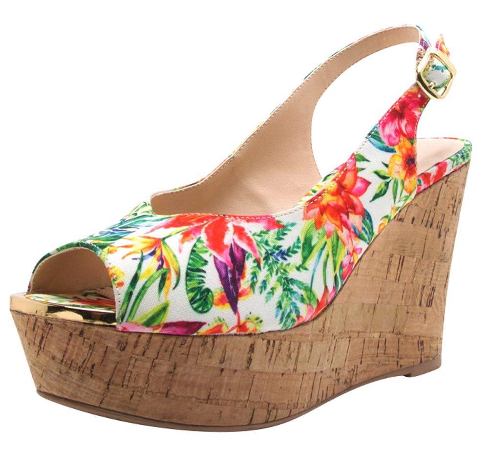 Cambridge Select Women's Peep Toe Buckled Slingback High Platform Wedge Sandal B079SW2XSN 7 M US|Green Multi