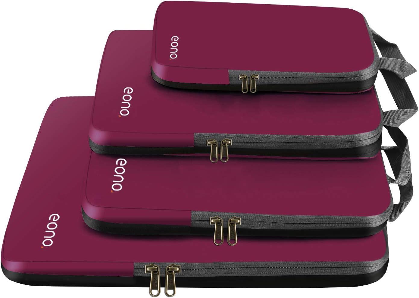 Eono by Amazon - Organizadores de Viaje de compresión expandibles, Impermeable Organizador para Maletas, Organizador de Equipaje, Cubos de Embalaje, Compression Packing Cubes, Borgoña, 4 Set