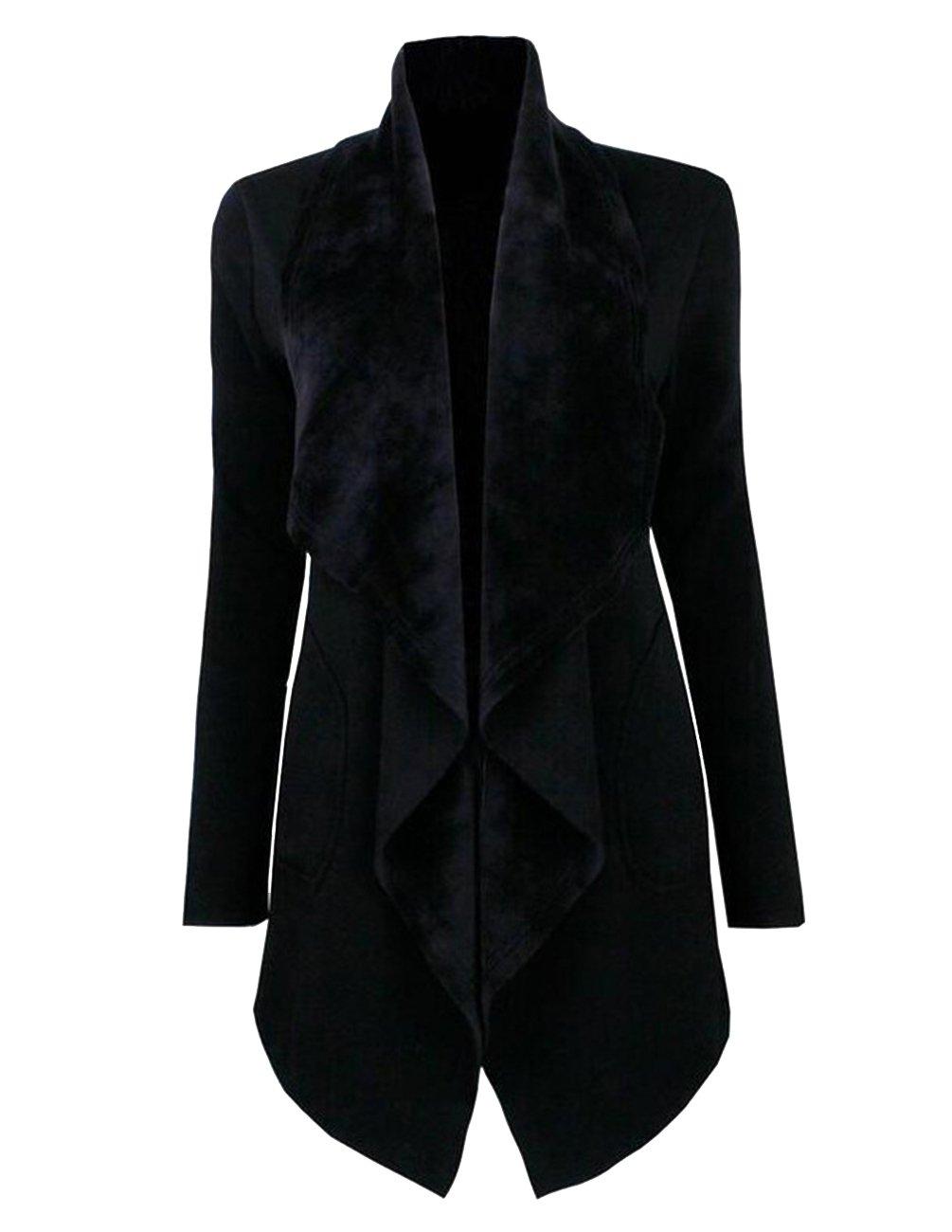 joyliveCY Womens Long Sleeve Cardigan Open Front Outwear Drap Tops Lapel Jacket