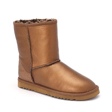 Women's Classic Short Bomber Twin-Face Sheepskin Boots Palm