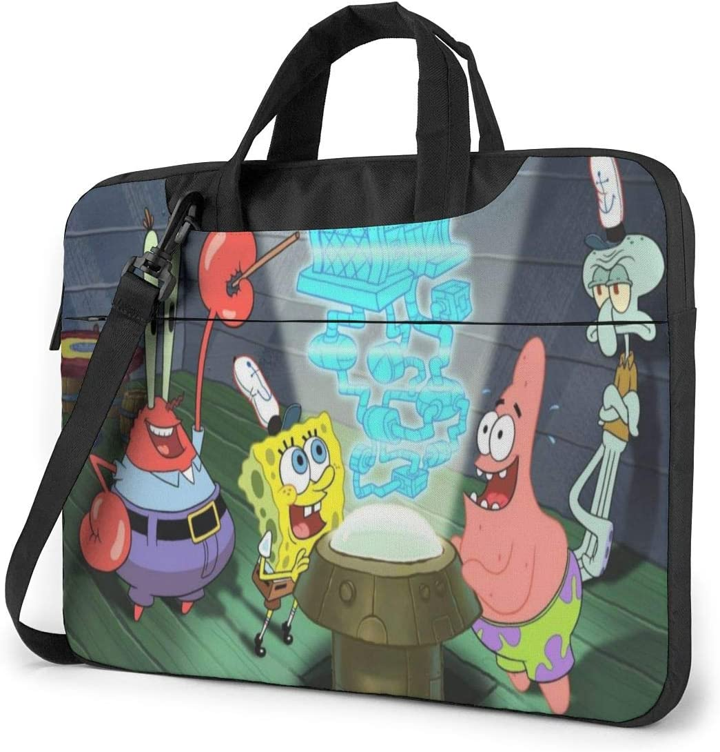 Spongebob Squarepants Laptop Bag Laptop Messenger Bag, Laptop Shoulder Bags Polyester Messenger Carrying Briefcase Sleeve with Adjustable Depth at Bottom 15.6 inch