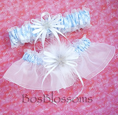 Customizable handmade - Winter Wonderland - Light blue snowflake print fabric & white organza garter set - with or without marabou puff and snowflake charms]()