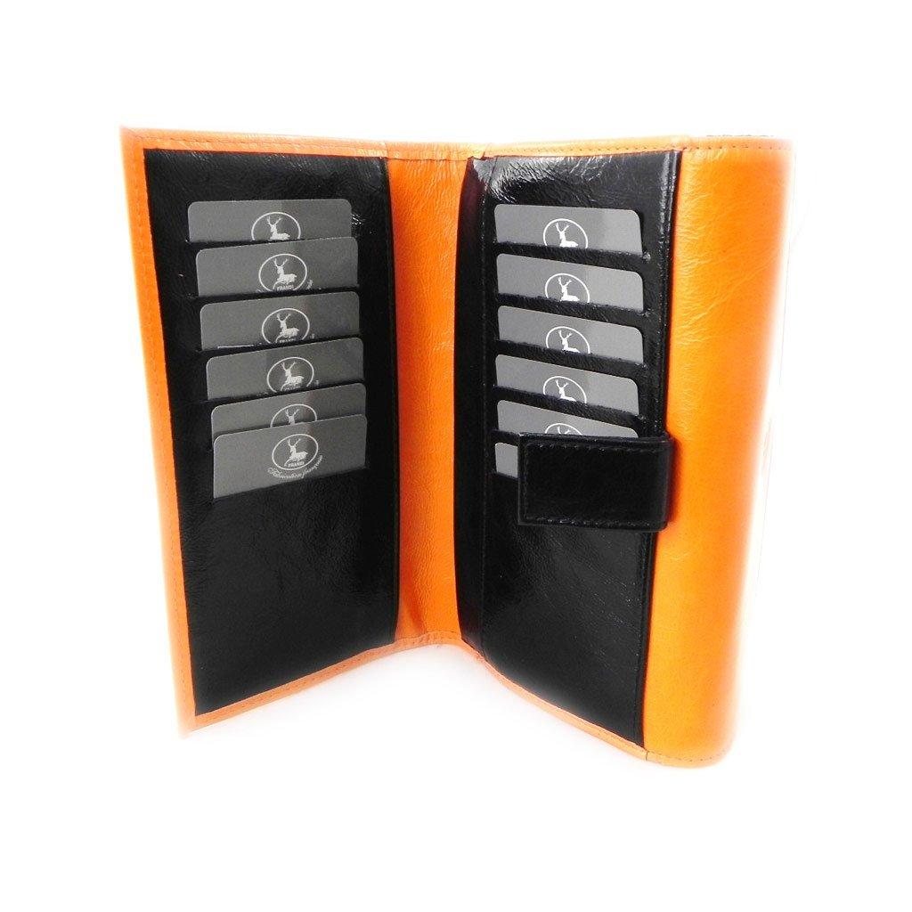 Wallet + checkbook holder leather ''Frandi'' orange black lacquer. by Les Tresors De Lily (Image #8)